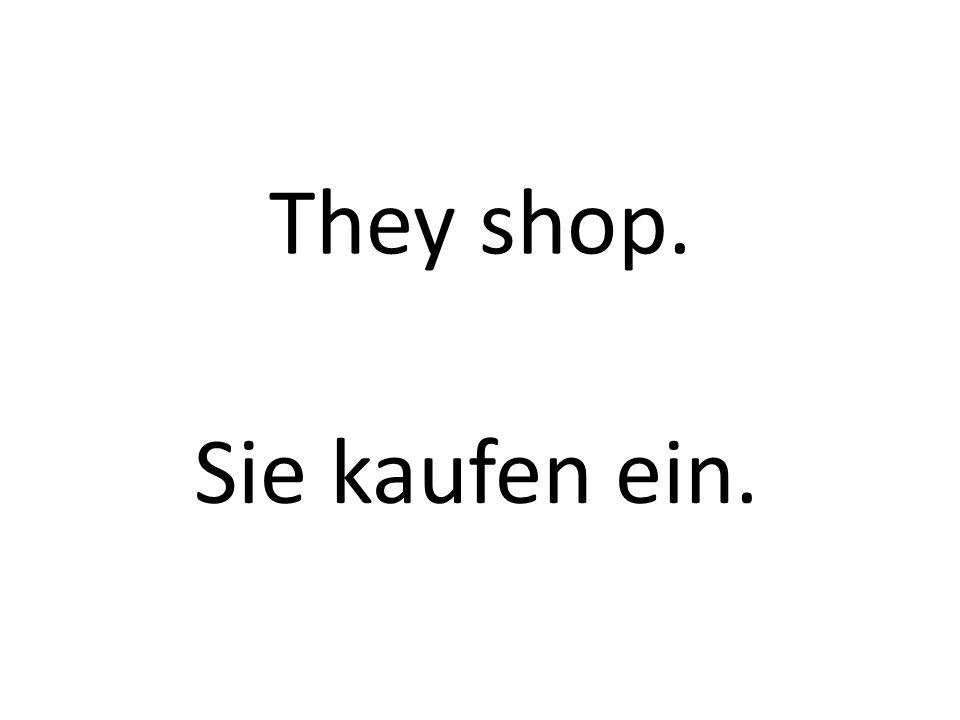 They shop. Sie kaufen ein.