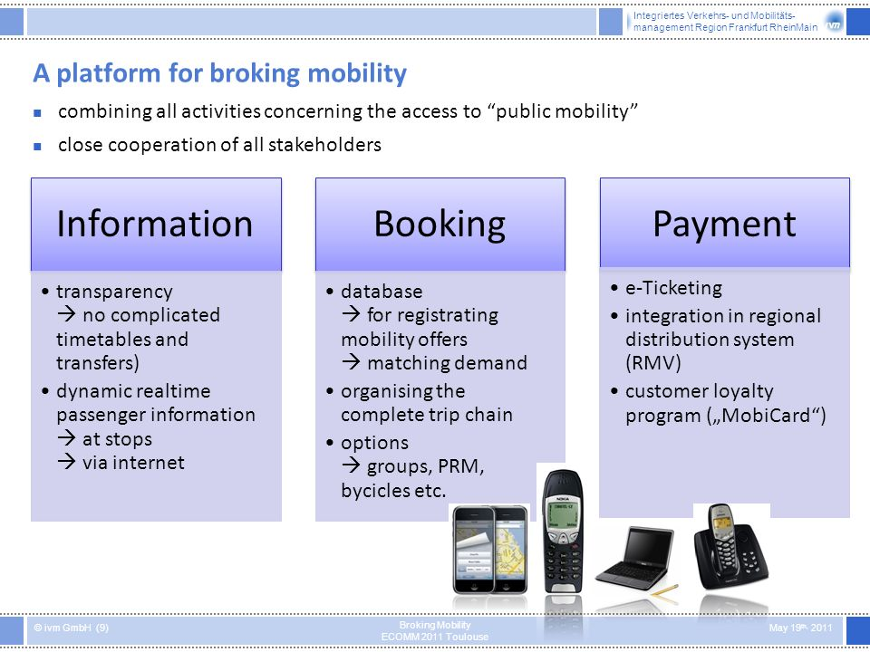 Integriertes Verkehrs- und Mobilitäts- management Region Frankfurt RheinMain © ivm GmbH (9) May 19 th, 2011 Broking Mobility ECOMM 2011 Toulouse A platform for broking mobility Information transparency no complicated timetables and transfers) dynamic realtime passenger information at stops via internet Booking database for registrating mobility offers matching demand organising the complete trip chain options groups, PRM, bycicles etc.