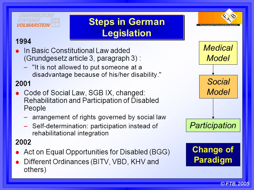 © FTB, 2005 Steps in German Legislation 1994 l In Basic Constitutional Law added (Grundgesetz article 3, paragraph 3) : – It is not allowed to put someone at a disadvantage because of his/her disability l Code of Social Law, SGB IX, changed: Rehabilitation and Participation of Disabled People –arrangement of rights governed by social law –Self-determination: participation instead of rehabilitational integration 2002 l Act on Equal Opportunities for Disabled (BGG) l Different Ordinances (BITV, VBD, KHV and others) Participation Change of Paradigm Medical Model Social Model