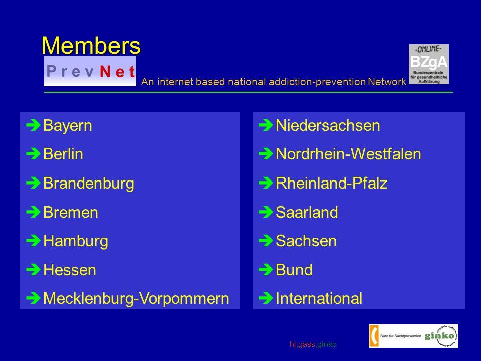 hj.gass,ginko An internet based national addiction-prevention Network Members Bayern Berlin Brandenburg Bremen Hamburg Hessen Mecklenburg-Vorpommern Niedersachsen Nordrhein-Westfalen Rheinland-Pfalz Saarland Sachsen Bund International
