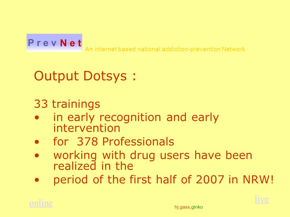 hj.gass,ginko An internet based national addiction-prevention Network Output Dotsys : 33 trainings in early recognition and early intervention for 378