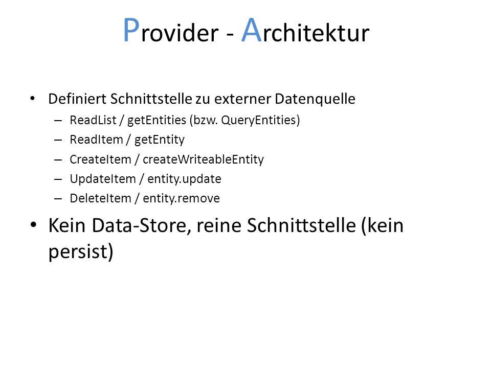 P rovider - A rchitektur Definiert Schnittstelle zu externer Datenquelle – ReadList / getEntities (bzw. QueryEntities) – ReadItem / getEntity – Create