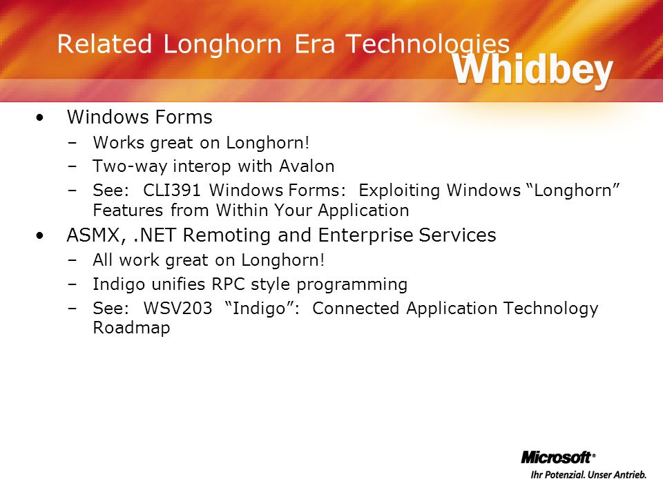 Related Longhorn Era Technologies Windows Forms –Works great on Longhorn! –Two-way interop with Avalon –See: CLI391 Windows Forms: Exploiting Windows