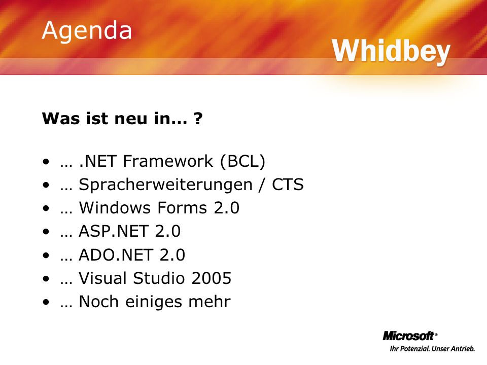 Agenda Was ist neu in… ? ….NET Framework (BCL) … Spracherweiterungen / CTS … Windows Forms 2.0 … ASP.NET 2.0 … ADO.NET 2.0 … Visual Studio 2005 … Noch