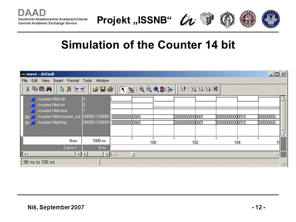 Projekt ISSNB Niš, September 2007- 12 - DAAD Deutscher Akademischer Austausch Dienst German Academic Exchange Service Simulation of the Counter 14 bit