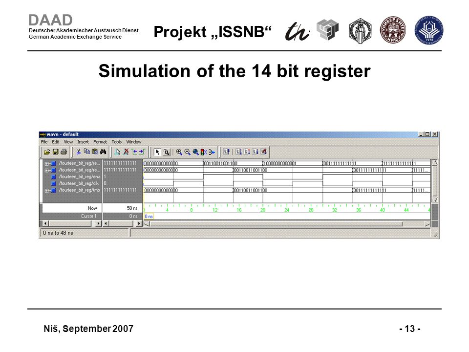 Projekt ISSNB Niš, September 2007- 13 - DAAD Deutscher Akademischer Austausch Dienst German Academic Exchange Service Simulation of the 14 bit register