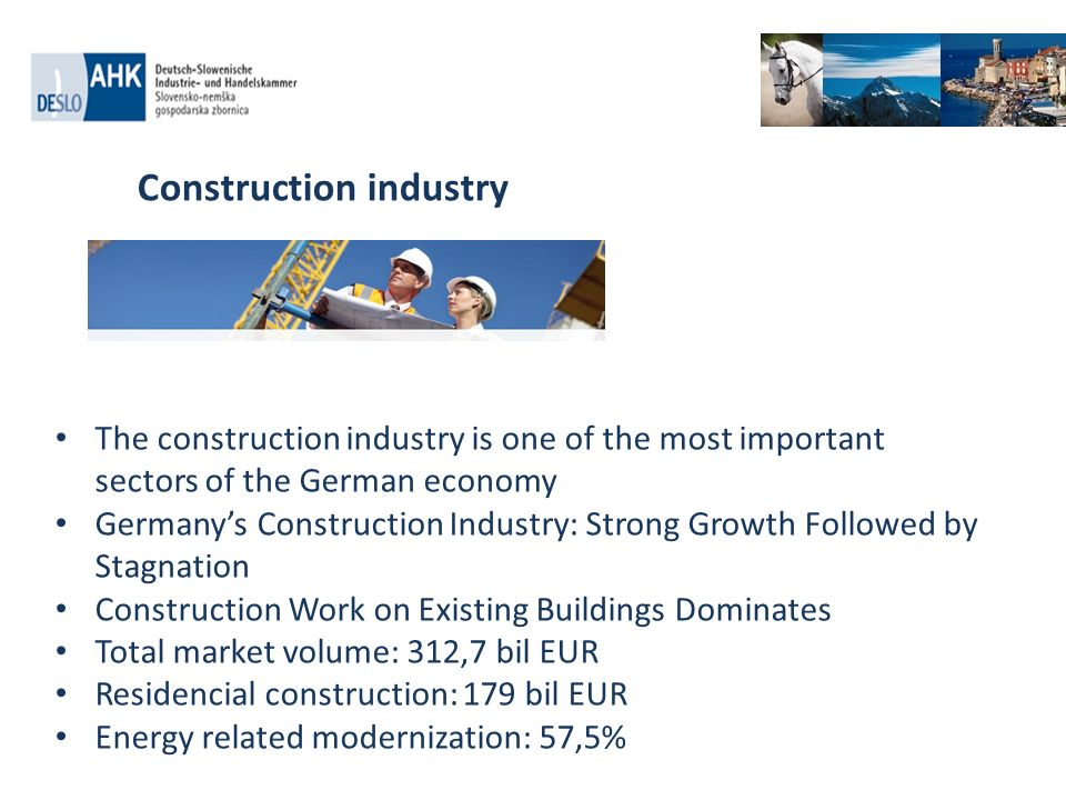 The construction industry is one of the most important sectors of the German economy Germanys Construction Industry: Strong Growth Followed by Stagnat