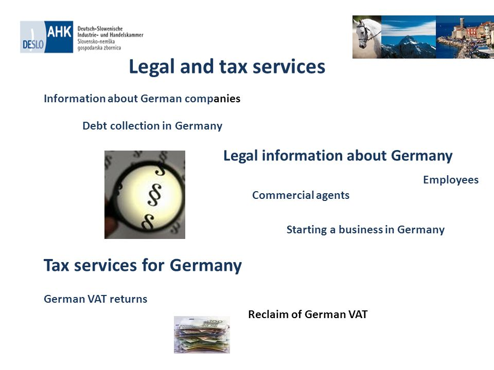 . Legal and tax services Information about German companies Debt collection in Germany Legal information about Germany Commercial agents Employees Sta