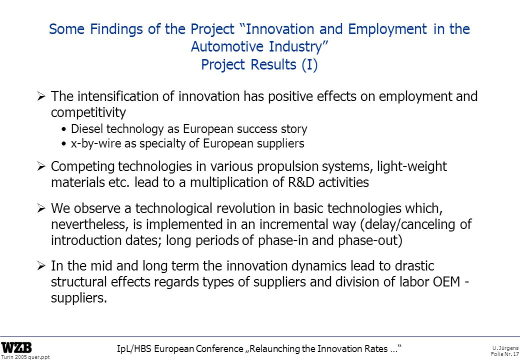 U. Jürgens Folie Nr. 17 Turin 2005 quer.ppt IpL/HBS European Conference Relaunching the Innovation Rates … Some Findings of the Project Innovation and
