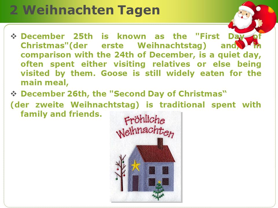 2 Weihnachten Tagen December 25th is known as the