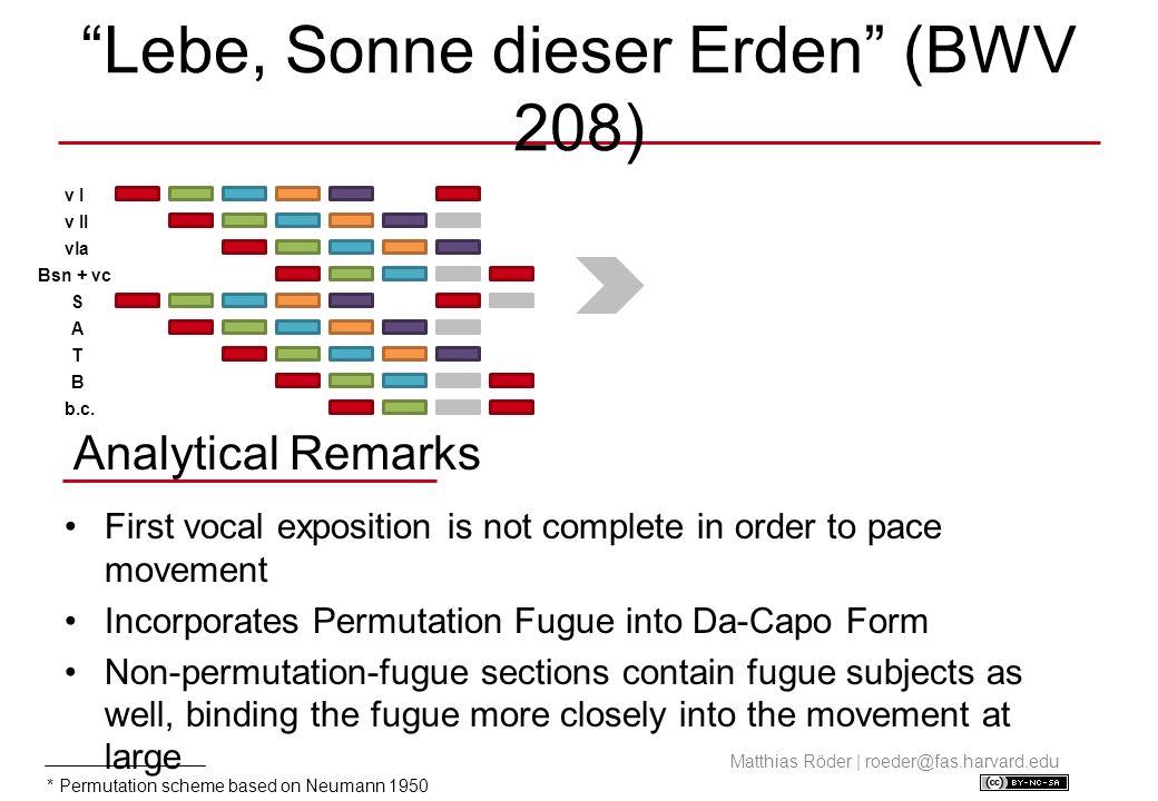 Permutation Fugue Subject in Instrumental Interlude and B-Section Matthias Röder | roeder@fas.harvard.edu Source: NBA I/35