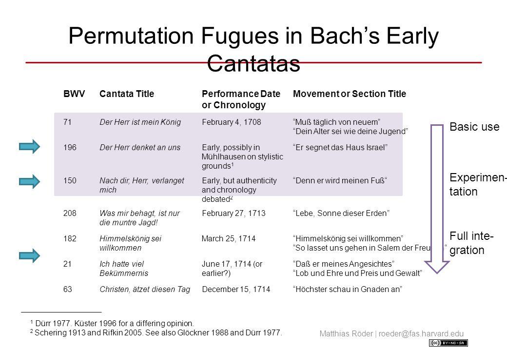 Muß täglich von neuem (BWV 71) Analytical Remarks Picture book permutation fugue.