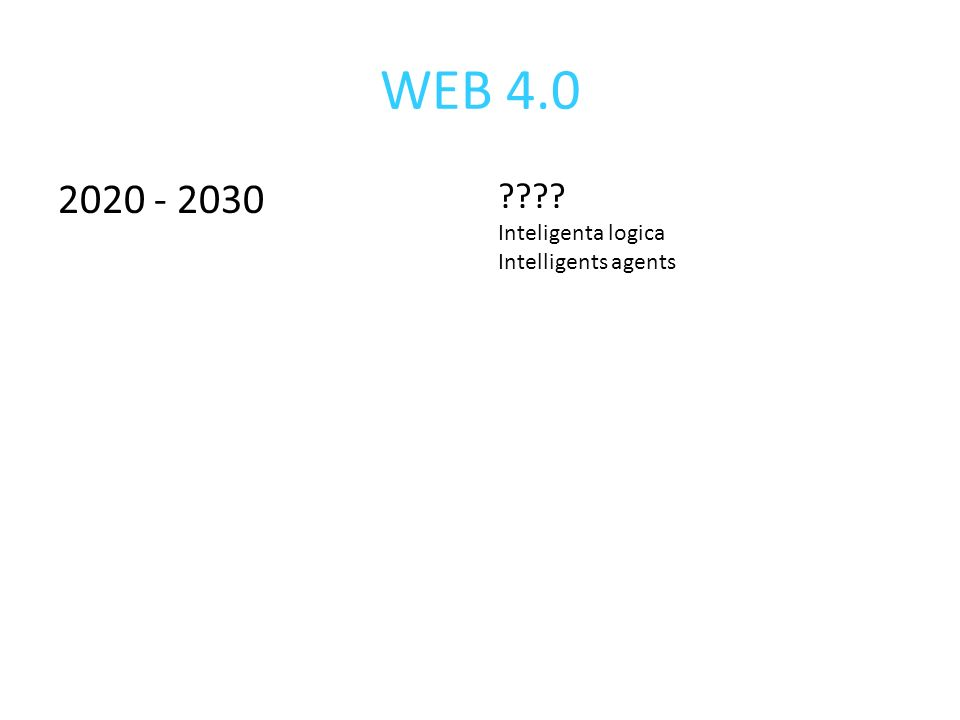 WEB 4.0 2020 - 2030 ???? Inteligenta logica Intelligents agents