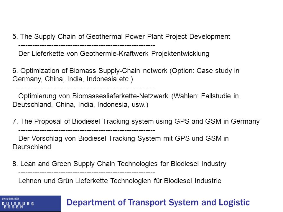 Department of Transport System and Logistic 5. The Supply Chain of Geothermal Power Plant Project Development ----------------------------------------