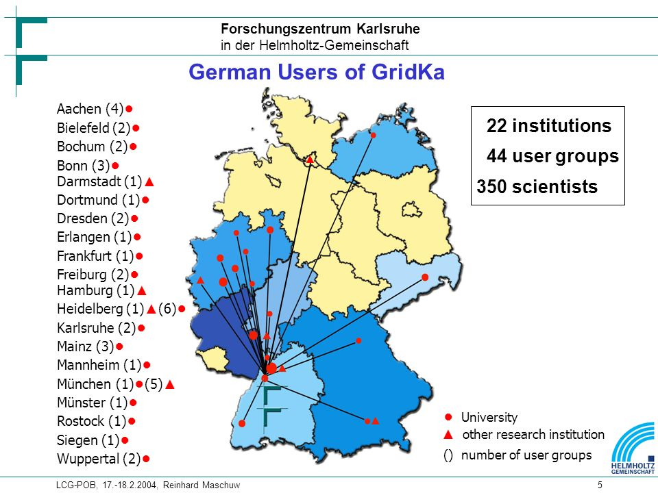 Forschungszentrum Karlsruhe in der Helmholtz-Gemeinschaft LCG-POB, , Reinhard Maschuw5 German Users of GridKa 22 institutions 44 user groups 350 scientists Aachen (4) Bielefeld (2) Bochum (2) Bonn (3) Darmstadt (1) Dortmund (1) Dresden (2) Erlangen (1) Frankfurt (1) Freiburg (2) Hamburg (1) Heidelberg (1) (6) Karlsruhe (2) Mainz (3) Mannheim (1) München (1) (5) Münster (1) Rostock (1) Siegen (1) Wuppertal (2) University other research institution () number of user groups