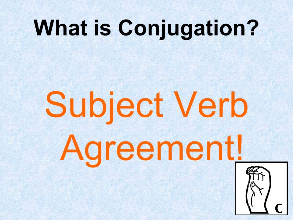 What is Conjugation? Subject Verb Agreement!