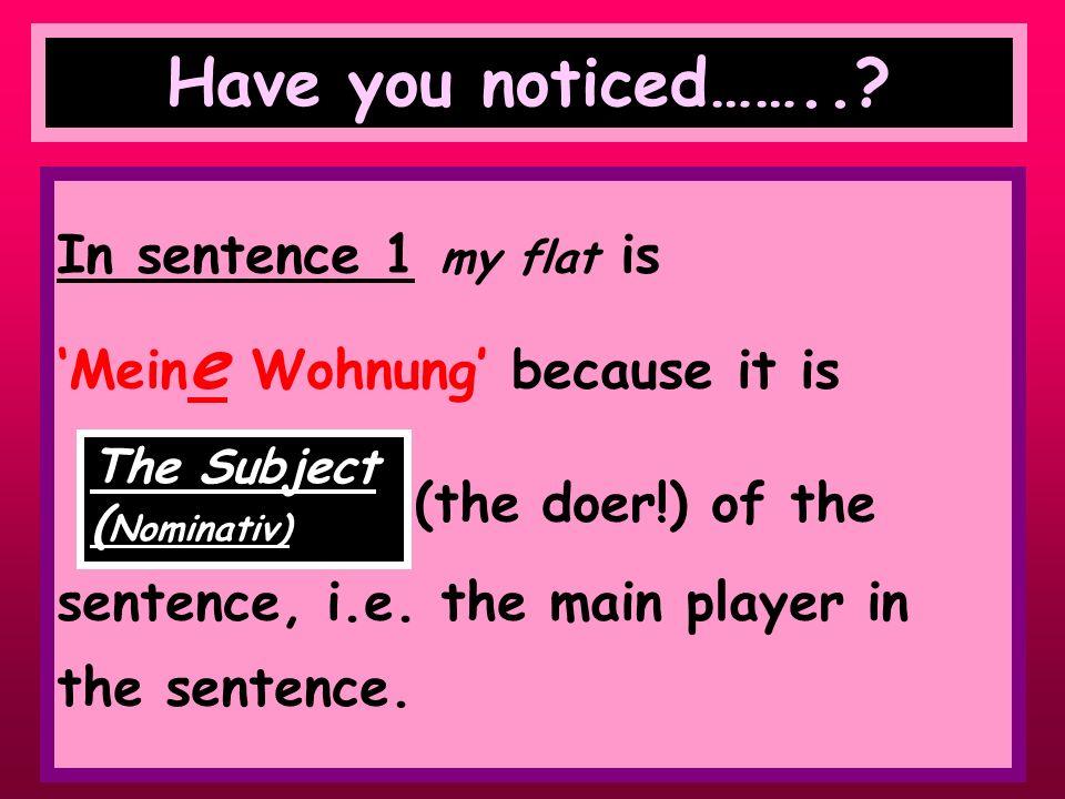 Have a look at the following 2 sentences Mein e Wohnung ist groß. Ich wohne in ein er Wohnung.