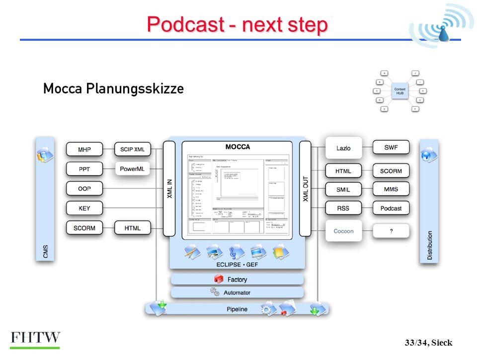 33/34, Sieck Podcast - next step