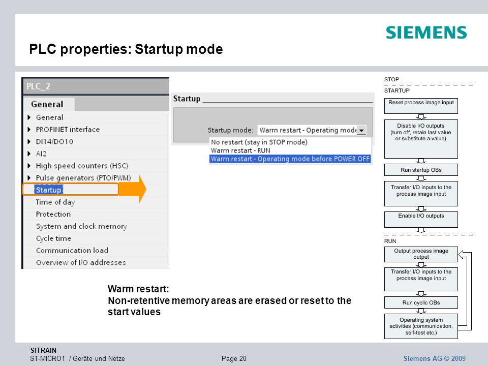 SITRAIN ST-MICRO1 / Geräte und NetzePage 20 Siemens AG © 2009 PLC properties: Startup mode Warm restart: Non-retentive memory areas are erased or rese