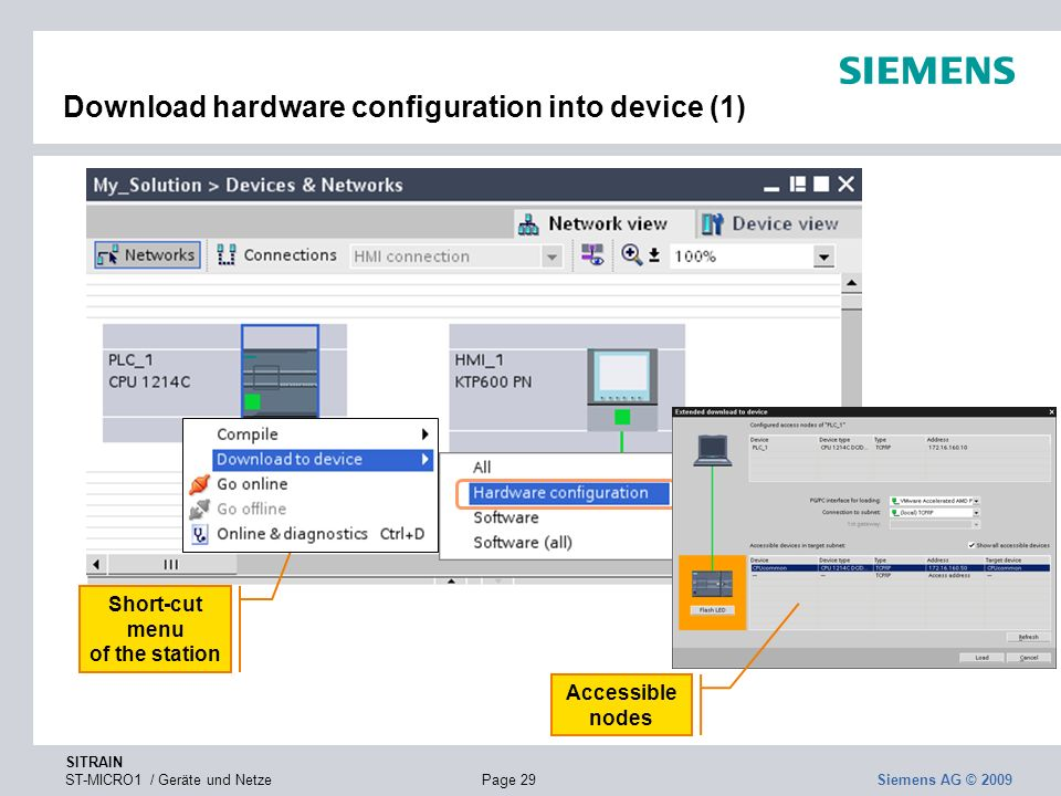SITRAIN ST-MICRO1 / Geräte und NetzePage 29 Siemens AG © 2009 Download hardware configuration into device (1) Short-cut menu of the station Accessible