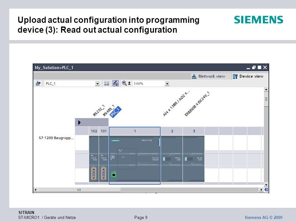 SITRAIN ST-MICRO1 / Geräte und NetzePage 9 Siemens AG © 2009 Upload actual configuration into programming device (3): Read out actual configuration