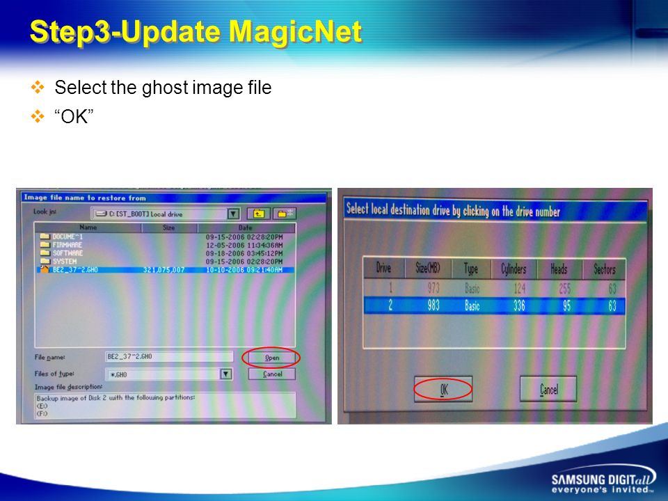 Step3-Update MagicNet Select the ghost image file OK