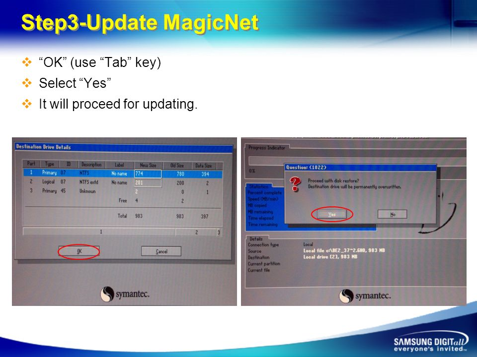 Step3-Update MagicNet OK (use Tab key) Select Yes It will proceed for updating.
