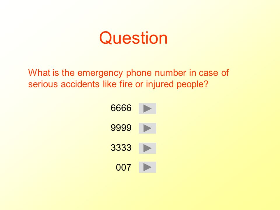 Question What is the emergency phone number in case of serious accidents like fire or injured people.