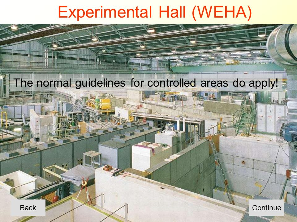 Experimental Hall (WEHA) BackContinue The normal guidelines for controlled areas do apply!