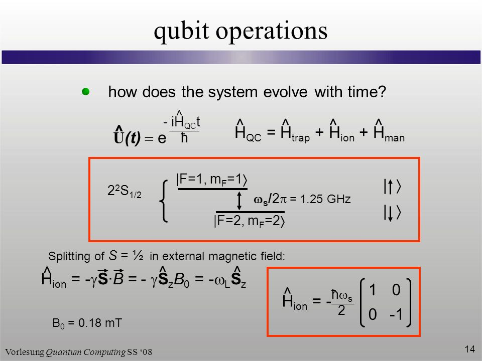 Vorlesung Quantum Computing SS 08 14 qubit operations how does the system evolve with time.