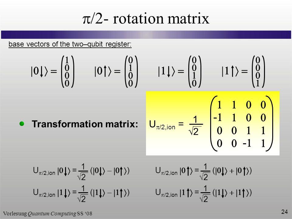 Vorlesung Quantum Computing SS 08 24 /2- rotation matrix - - 1 2 U /2,ion = base vectors of the two–qubit register: Transformation matrix: U /2,ion =