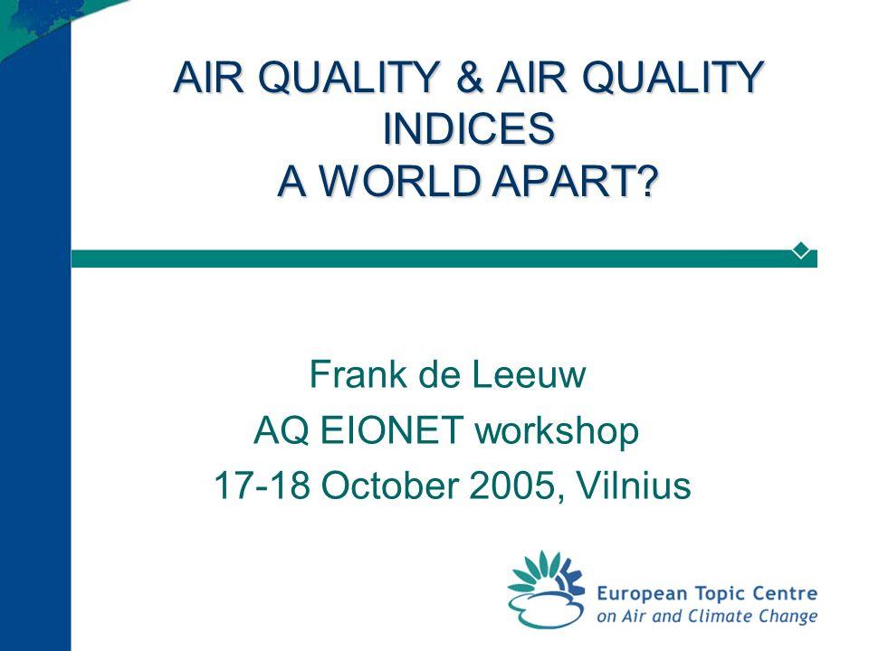 AIR QUALITY & AIR QUALITY INDICES A WORLD APART.