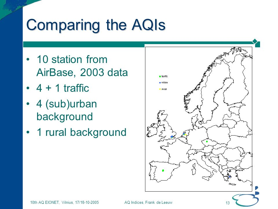 AQ Indices, Frank de Leeuw 13 10th AQ EIONET, Vilnius, 17/18-10-2005 Comparing the AQIs 10 station from AirBase, 2003 data 4 + 1 traffic 4 (sub)urban background 1 rural background