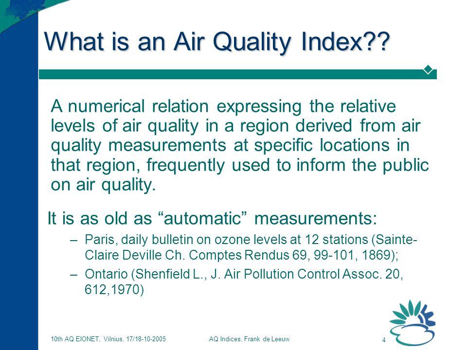 AQ Indices, Frank de Leeuw 4 10th AQ EIONET, Vilnius, 17/18-10-2005 What is an Air Quality Index?.