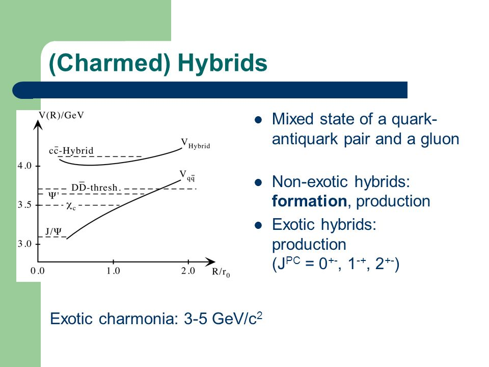 (Charmed) Hybrids Mixed state of a quark- antiquark pair and a gluon Non-exotic hybrids: formation, production Exotic hybrids: production (J PC = 0 +-, 1 -+, 2 +- ) Exotic charmonia: 3-5 GeV/c 2