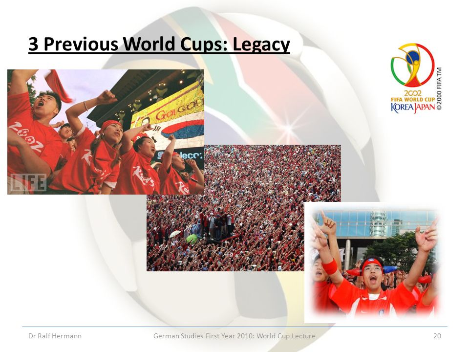 3 Previous World Cups: Legacy Dr Ralf HermannGerman Studies First Year 2010: World Cup Lecture20