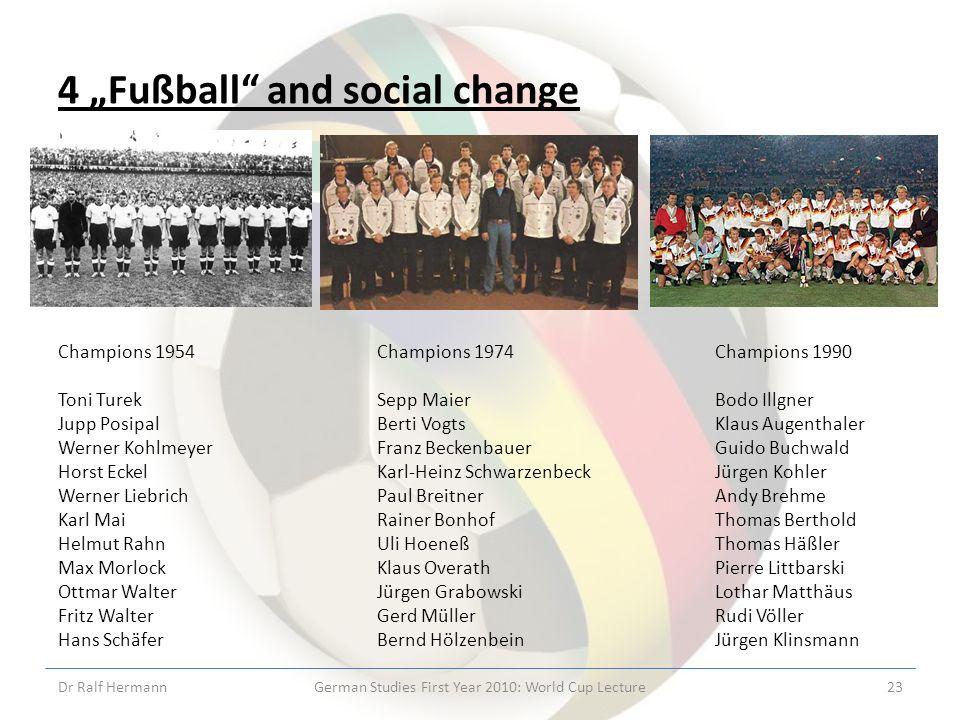 4 Fußball and social change Champions 1954 Toni Turek Jupp Posipal Werner Kohlmeyer Horst Eckel Werner Liebrich Karl Mai Helmut Rahn Max Morlock Ottma