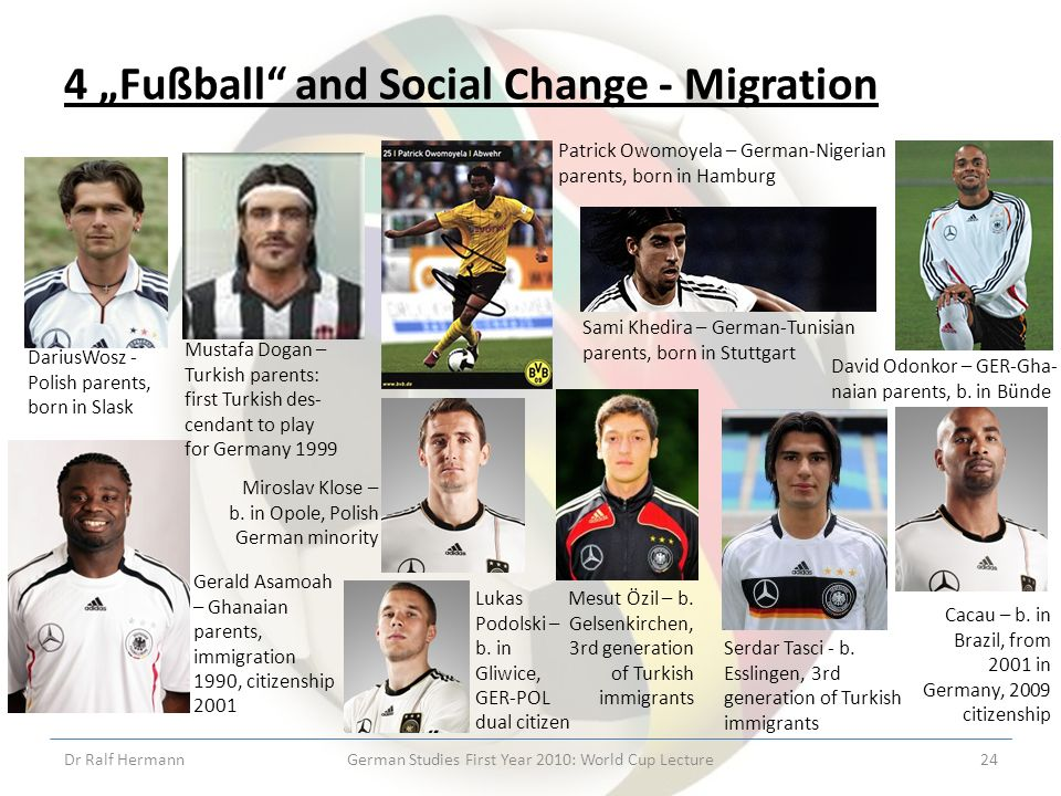 4 Fußball and Social Change - Migration Dr Ralf HermannGerman Studies First Year 2010: World Cup Lecture24 DariusWosz - Polish parents, born in Slask Mustafa Dogan – Turkish parents: first Turkish des- cendant to play for Germany 1999 Patrick Owomoyela – German-Nigerian parents, born in Hamburg Sami Khedira – German-Tunisian parents, born in Stuttgart Gerald Asamoah – Ghanaian parents, immigration 1990, citizenship 2001 David Odonkor – GER-Gha- naian parents, b.