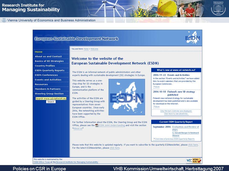 Policies on CSR in Europe VHB Kommission Umweltwirtschaft, Herbsttagung 2007