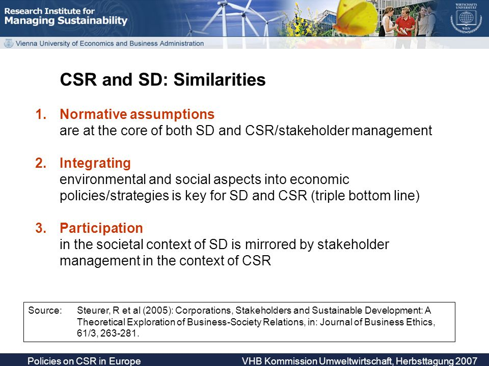 Policies on CSR in Europe VHB Kommission Umweltwirtschaft, Herbsttagung 2007 Orientation 1.Research behind this presentation Activities of RIMAS 2.Sustainable Develpoment: The context of CSR Policies Conceptual and political clarifications 3.The CSR policy field Topics and policy tools 4.A closer look at two topics CSR awareness raising & Sustainable Public Procurement 5.Conclusions EU and Member State policies on CSR