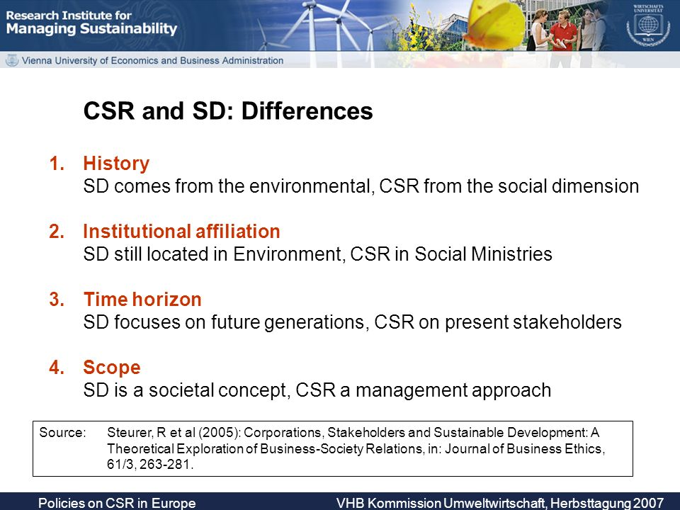 Policies on CSR in Europe VHB Kommission Umweltwirtschaft, Herbsttagung 2007 Sustainable Development Corporate Sustainability Environmental dimension Economic dimension Social dimension CSR SRM Societal Concept Management Approach Corporate Concept Management Systems Starting Point of conceptual development Stakeholder Relations Management (SRM) Level of specification SRM ISO … Source: Steurer, R et al (2005), Journal of Business Ethics, 61/3, 263-281.