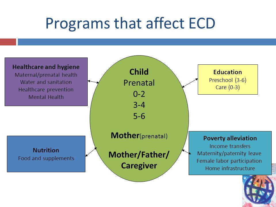 Child Prenatal 0-2 3-4 5-6 Mother (prenatal) Mother/Father/ Caregiver Healthcare and hygiene Maternal/prenatal health Water and sanitation Healthcare prevention Mental Health Poverty alleviation Income transfers Maternity/paternity leave Female labor participation Home infrastructure Nutrition Food and supplements Education Preschool (3-6) Care (0-3) Programs that affect ECD