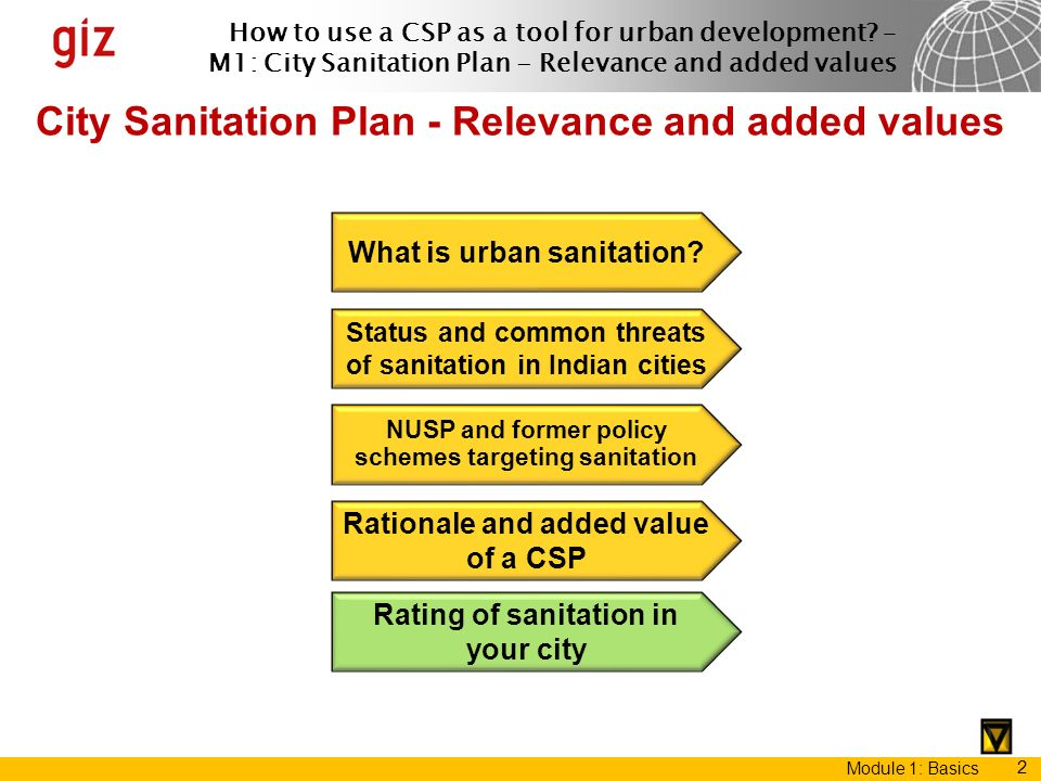 How to use a CSP as a tool for urban development? – M1: City Sanitation Plan - Relevance and added values Module 1: Basics 2 City Sanitation Plan - Re