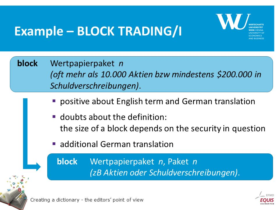 Creating a dictionary - the editors point of view Example – BLOCK TRADING/I block Wertpapierpaket n (oft mehr als 10.000 Aktien bzw mindestens $200.000 in Schuldverschreibungen).