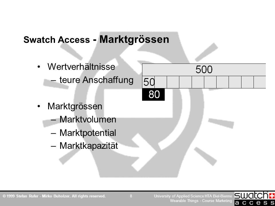 © 1999 Stefan Rufer - Mirko Buholzer. All rights reserved.University of Applied Science HTA Biel-Bienne Wearable Things - Course Marketing 8 Swatch Ac