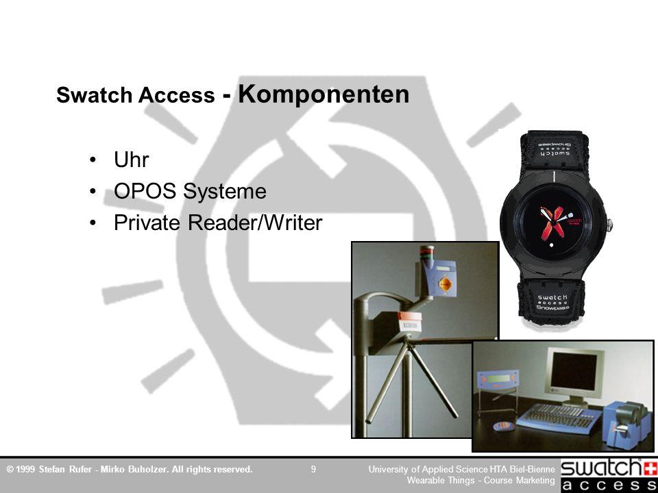 © 1999 Stefan Rufer - Mirko Buholzer. All rights reserved.University of Applied Science HTA Biel-Bienne Wearable Things - Course Marketing 9 Swatch Ac