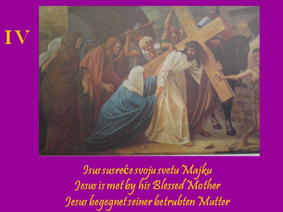 Šimun Cirenac poma ž e Isusu nositi kri ž.The Cross is laid upon Simon of Cyrene.