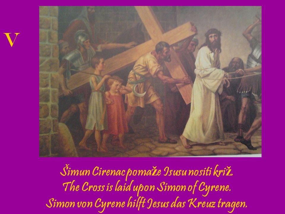 Veronika pru ž a Isusu rubac.Veronica wipes the face of Jesus.