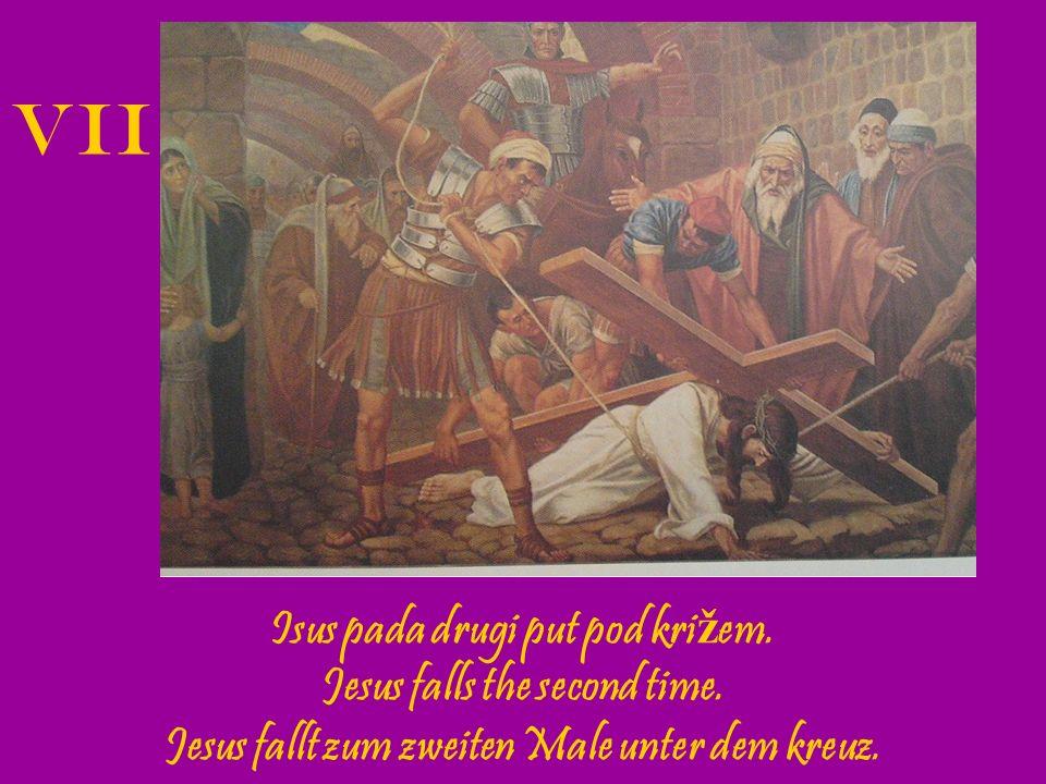 Isus tješi Jeruzalemske ž ene.The women of Jerusalem mourn for our Lord.