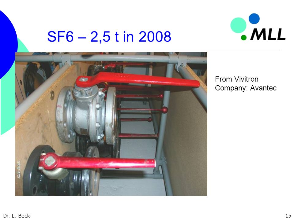 Dr. L. Beck15 SF6 – 2,5 t in 2008 From Vivitron Company: Avantec